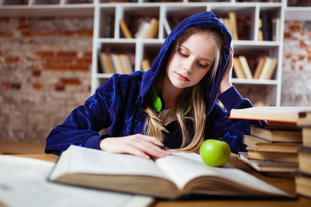 Young girl studying for school