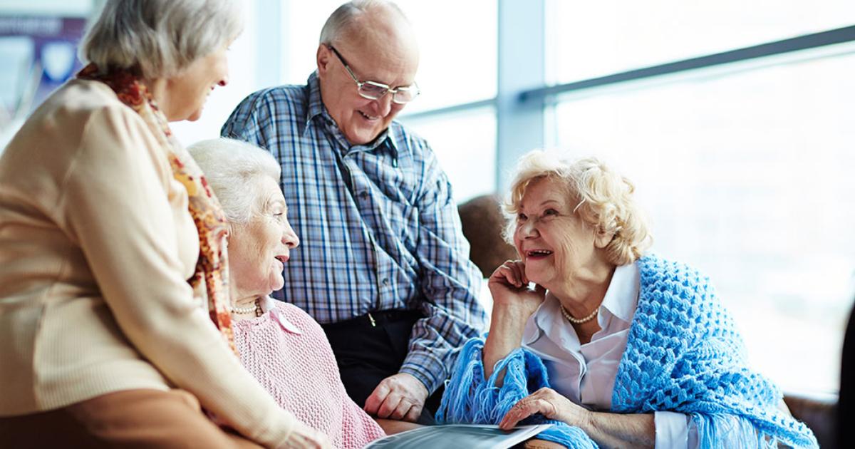 Elderly people chatting