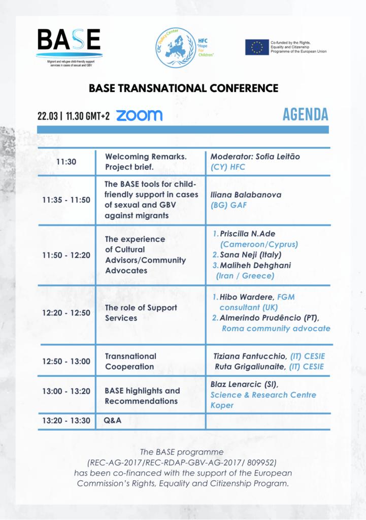 BASE conference agenda